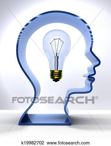 Clip Art Of Idea Person Mind Light Bulb In Silhouette Head K19982702