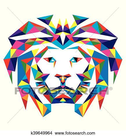 Clipart Tete Lion Polygonal K39649964 Recherchez Des Clip Arts