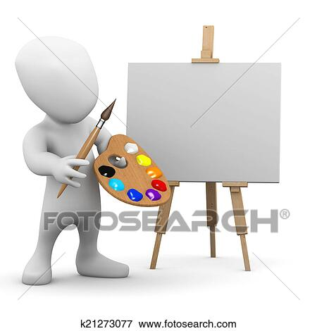 stock illustration of 3d little man is an artist with an easel