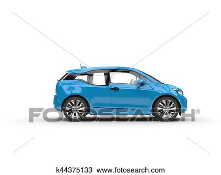 Dibujo - azul, coche eléctrico, -, vista lateral k44375133 - Buscar ...