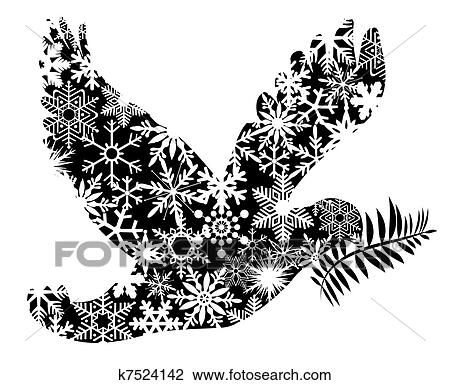Christmas Peace Dove Silhouette Drawing