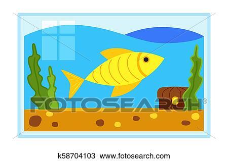 Colorful Cartoon Fish Aquarium Clipart