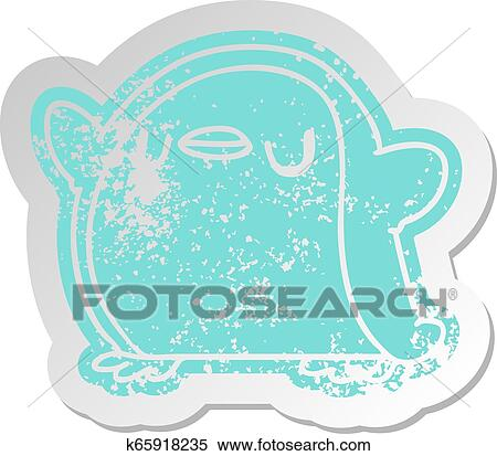 Clipart Of Distressed Old Sticker Kawaii Of A Cute Penguin K65918235