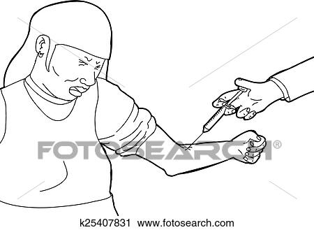 Doctor Injecting Cringing Patient Clipart