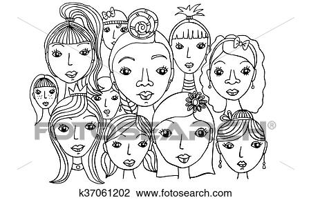 clip art of group of girls faces drawing k37061202 search clipart