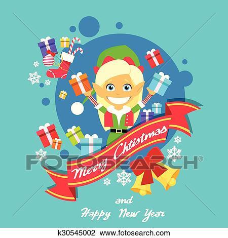 clipart merry christmas elf female character poster little girl santa helper greeting card hold gift - Merry Christmas Elf