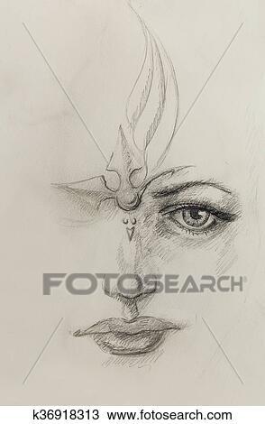 Kresba Mystic Zena Face Ceruzka Kreslit Prostrednictvom