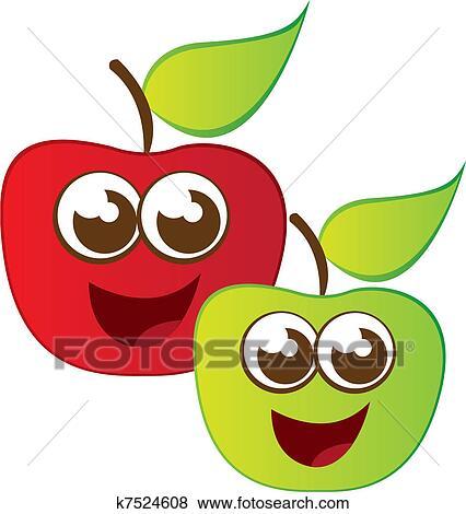 Pomme dessin anim clipart k7524608 fotosearch - Dessin pomme apple ...