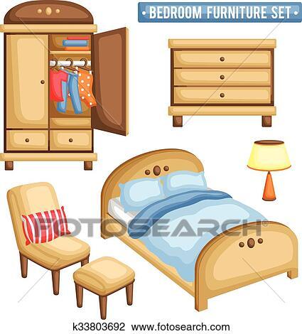 Clipart Schlafzimmer Mobel Satz K33803692 Suche Clip Art
