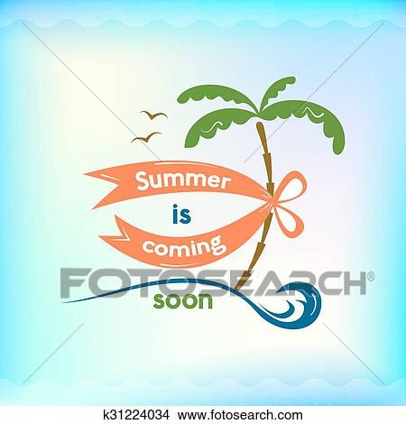 Summer Sign Retro Typography Sea And Beach Logo Clipart K31224034 Fotosearch