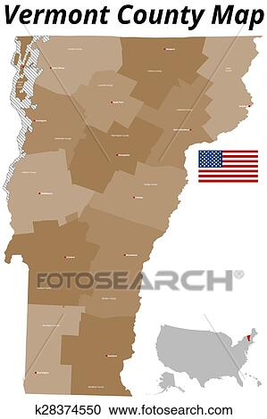 Clipart of Vermont County Map k28374550 - Search Clip Art ...