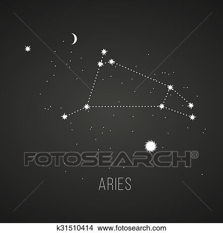 Astrology sign Aries on chalkboard background  Clipart