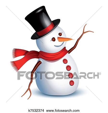 Clipart bonhomme de neige salutation k7532374 recherchez des clip arts des illustrations - Clipart bonhomme de neige ...