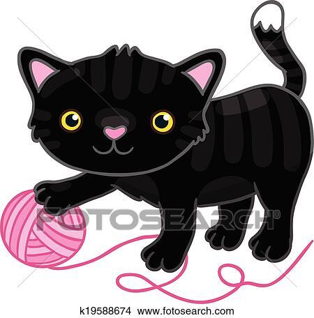 Carino cartone animato gatto nero con claw. clipart k19588674
