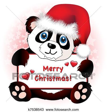 Christmas Hat Cartoon.Christmas Panda With Heart Banner Piesinys
