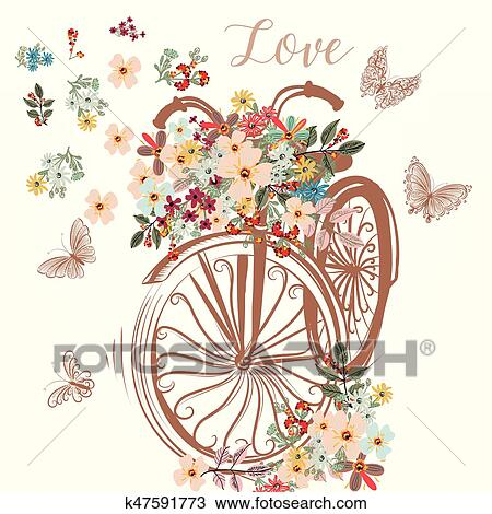 Clipart of cute fake hand drawn bicycle with bunch of spring flowers clipart cute fake hand drawn bicycle with bunch of spring flowerseps fotosearch mightylinksfo