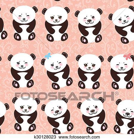 Clipart Kawaii Rigolote Panda Seamless Modele Sur Arriere