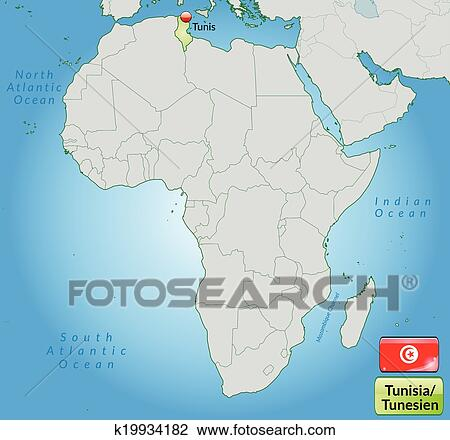 Clipart of Map of tunisia k19934182 - Search Clip Art, Illustration ...