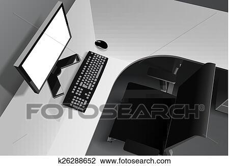 Clipart moderne bureau à informatique bureau et noir
