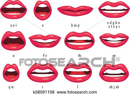 Mouth Animation Lip Sync Animated Phonemes For Cartoon Woman Character Mouths With Red Lips Speaking Animations Vector Set Clip Art K58591158 Fotosearch