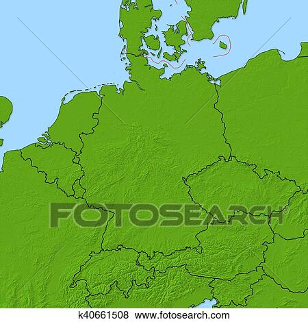 Map Of Germany 3d.Relief Map Germany 3d Rendering Stock Illustration K40661508