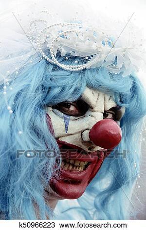 Scary Evil Clown In A Bride Dress Stock Image K50966223 Fotosearch