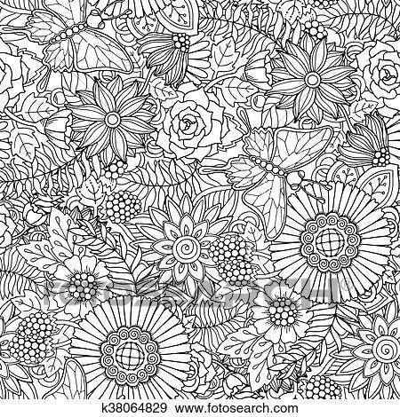 Seamless, modèle, à, fleurs, et, butterfly., orné ...