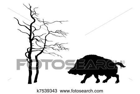 desenho silueta javali selvagem branco fundo k7539343 busca