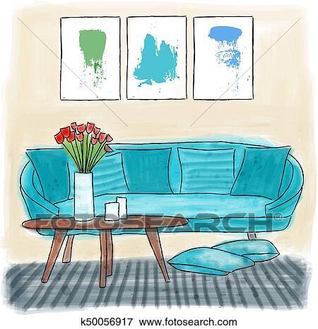 Clip Art - soggiorno, colorato, pittura k50056917 - Cerca Clipart ...