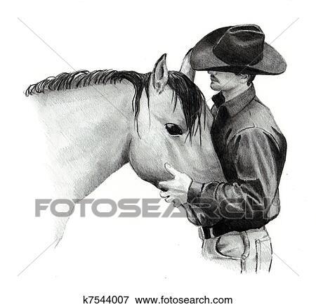 Bleistift Zeichnen Von Cowboy Und Pferd Stock Foto