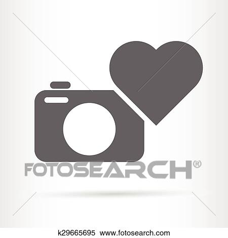 Clipart Of Camera And Heart Icon K29665695 Search Clip Art
