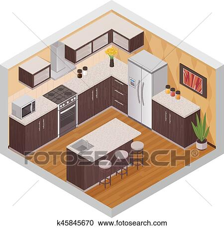 Cuisine, moderne, intérieur, isométrique, composition Clipart