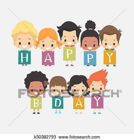 Astonishing Cute Kids Happy Birthday Card Drawing K30382793 Fotosearch Personalised Birthday Cards Bromeletsinfo
