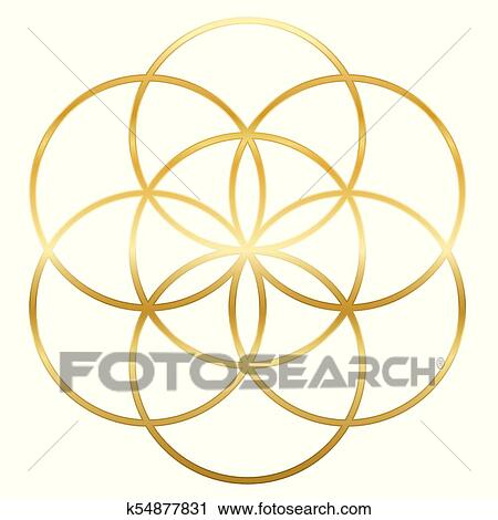 Golden Seed Of Life Flower Of Life Clipart