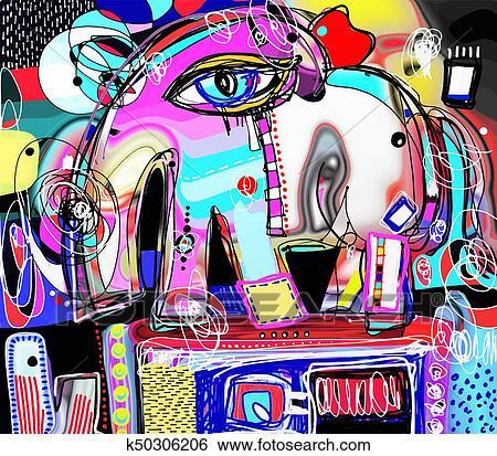 Original abstract digital painting of decorative elephant ...