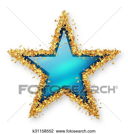 sapphire blue coloured gemstone star with spangled golden starlet border white background with smooth shadow christmas star new years eve season
