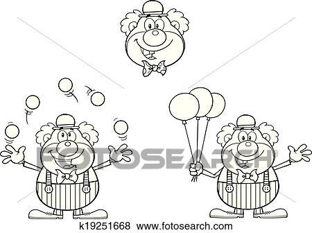 Clip Art Schwarz Weiss Clown Sammlung K19251668 Suche