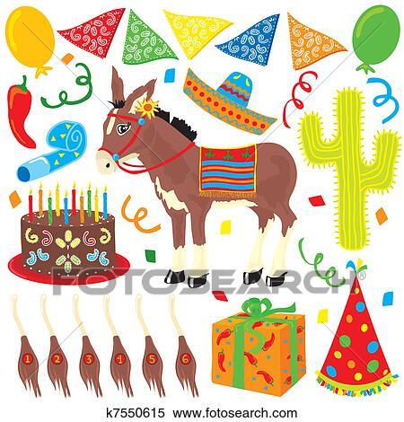 メキシコ人 祝祭 誕生日パーティー クリップアート切り張り