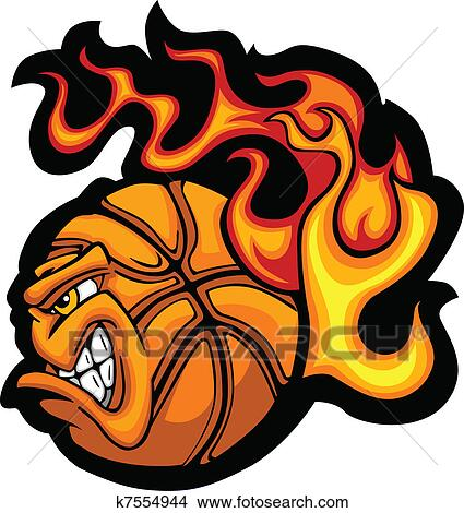 clipart basquetebol flamejante bola rosto vecto k7554944