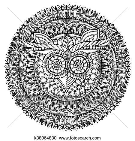 Birds theme. Owl black and white mandala with abstract ...