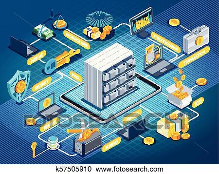 Blockchain Cryptocurrency Isometric Flowchart Clipart