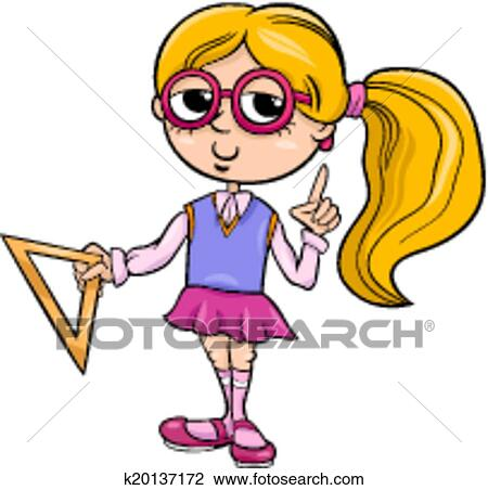 clipart of grade school girl cartoon illustration k20137172 search rh fotosearch com high school girl clipart school going girl clipart