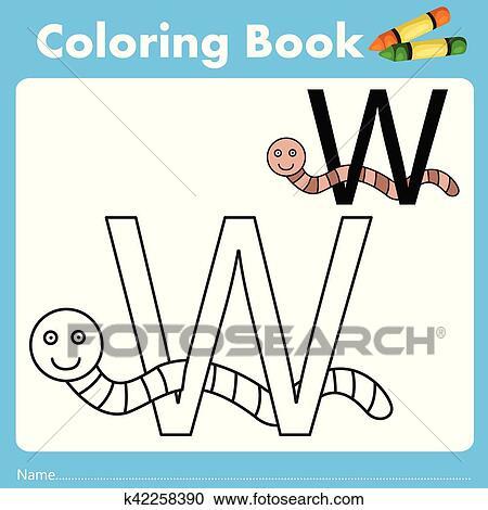 Clipart - illustrator, von, farbe, buch, mit, wurm, tier k42258390 ...