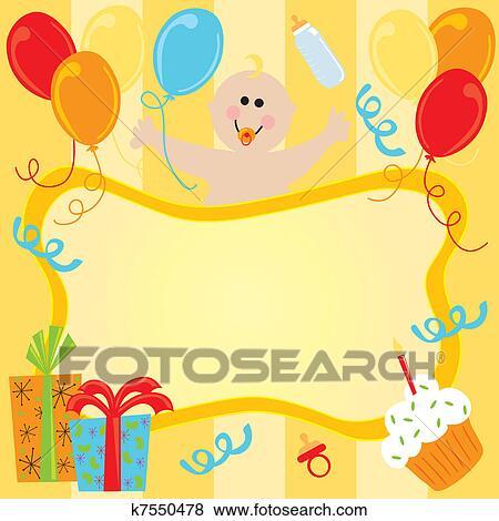 Clipart Joyeux Anniversaire Bebe Invitation K7550478