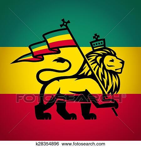 Judah Leao Com Um Rastafari Flag Rei De Zion Logotipo