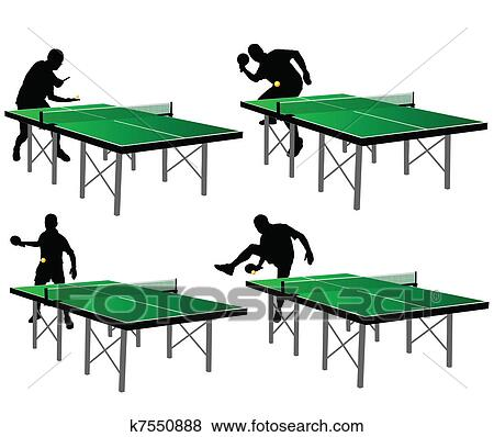 clip art ping pong spieler mit gr ner tisch k7550888. Black Bedroom Furniture Sets. Home Design Ideas