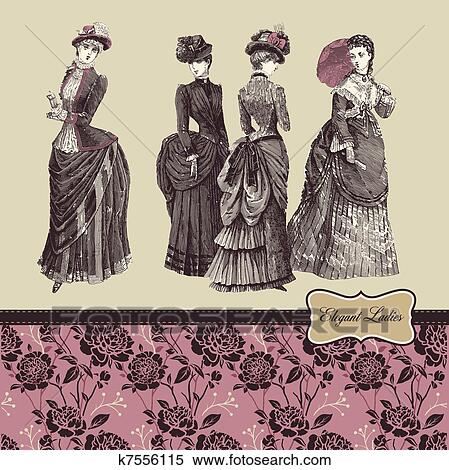 Clipart elegante altmodisch damen k7556115 suche for Elegante wandbilder