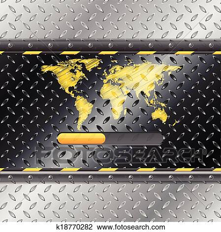 Clipart of loading industrial interface with metallic plate and clipart loading industrial interface with metallic plate and world map fotosearch search clip gumiabroncs Gallery