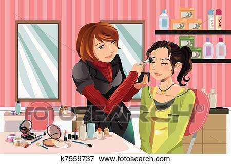 clip art of makeup artist at work k7559737 search clipart