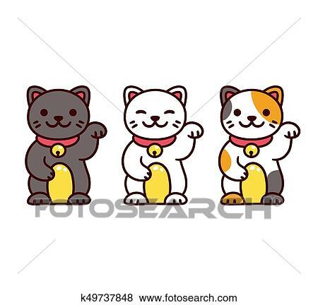 Mignon Maneki Neko Chats Clipart